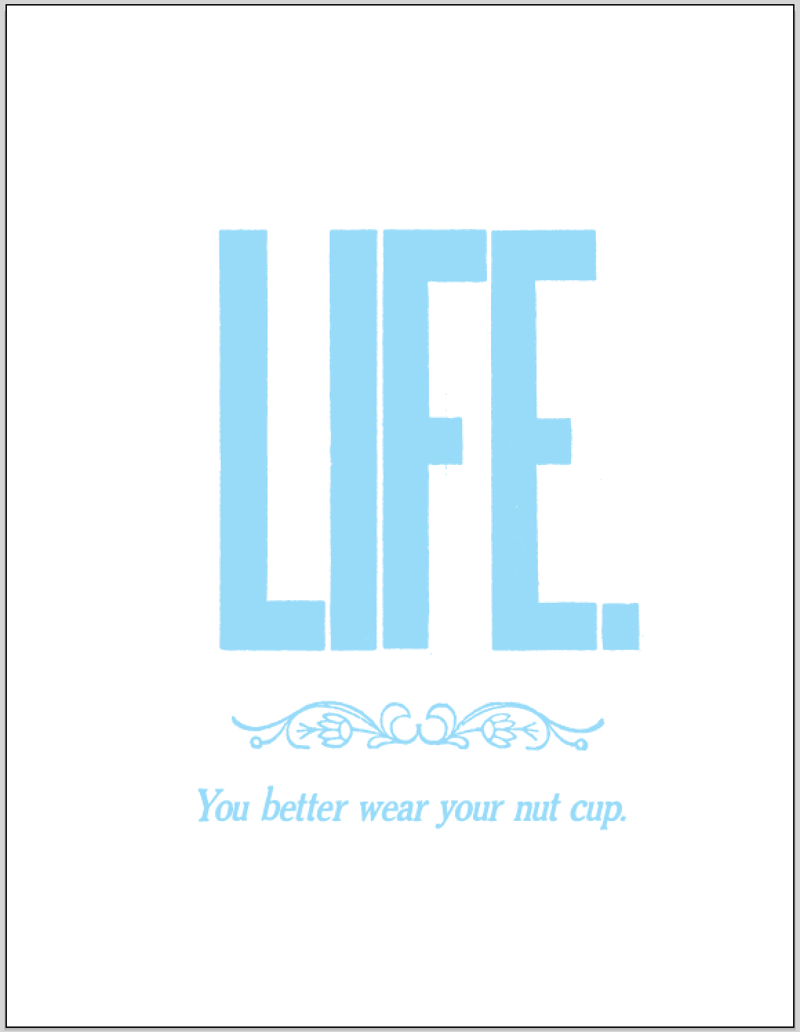 *LIFE.You better wear a nut cup