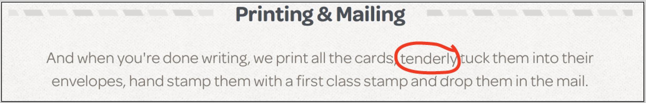 printing and mailing circle tenderly