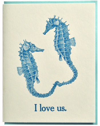 I love us. Letterpress printed on recycled paper. Comes with coordinating envelope and packaged in cellophane sleeve.